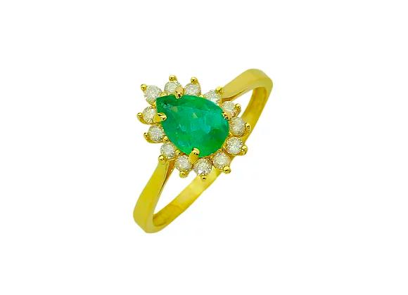 Anel Ouro amarelo, Brilhante e Esmeralda - Coleção Lady