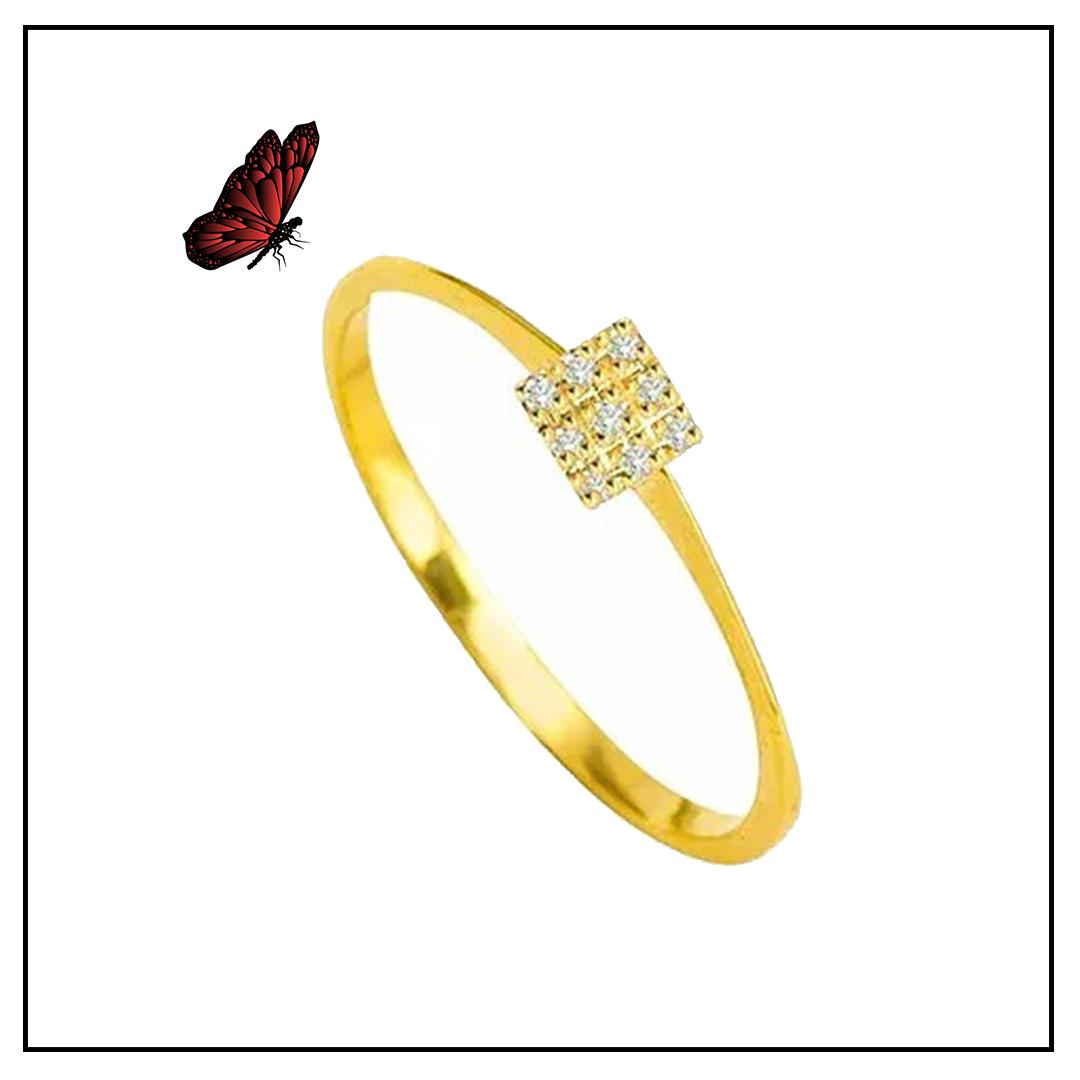 Anel Ouro Amarelo e Brilhante