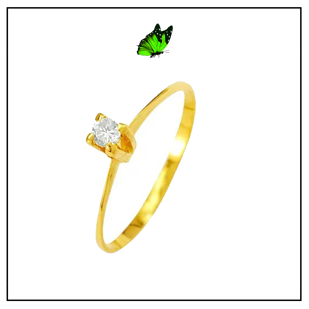Anel Solitário ouro amarelo 18k e brilhante