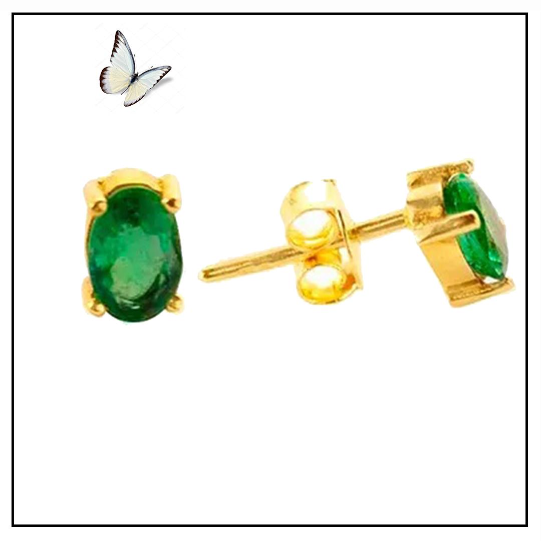 Brinco Ouro Amarelo e Esmeralda