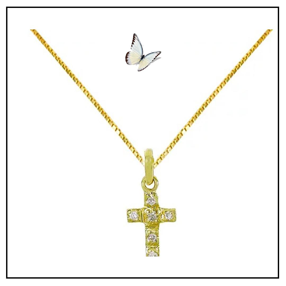 Colar Cruz ouro amarelo 18k e brilhante