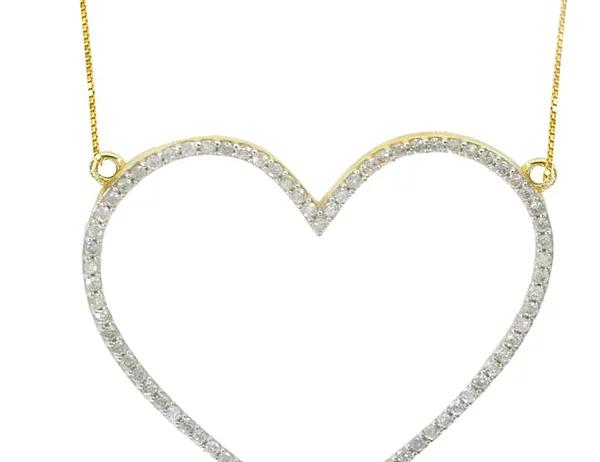 Colar Ouro amarelo e Brilhantes -Coleção Love