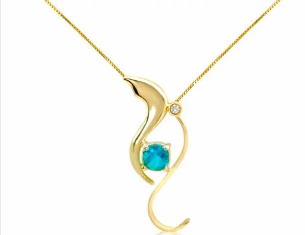 Colar Ouro Topázio azul e Brilhante - Coleção Linea