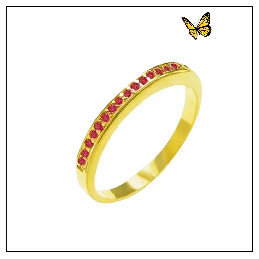Meia Aliança Ouro Amarelo e Rubi
