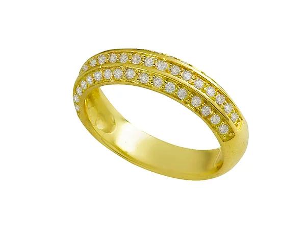 Meia Aliança Ouro Amarelo Ouro e Brilhantes