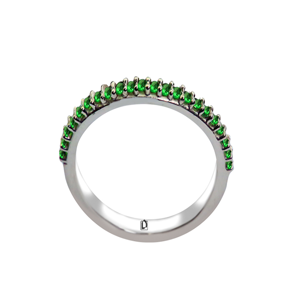 Meia Aliança Verde Esmeralda - Prata