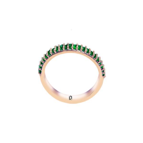 Meia Aliança Verde Esmeralda - Ouro Rose
