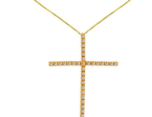 Pingente Cruz em Ouro Amarelo e Brilhantes