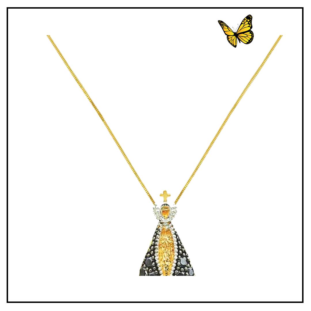 Pingente de Nossa Senhora Aparecida em Ouro Amarelo com Safira
