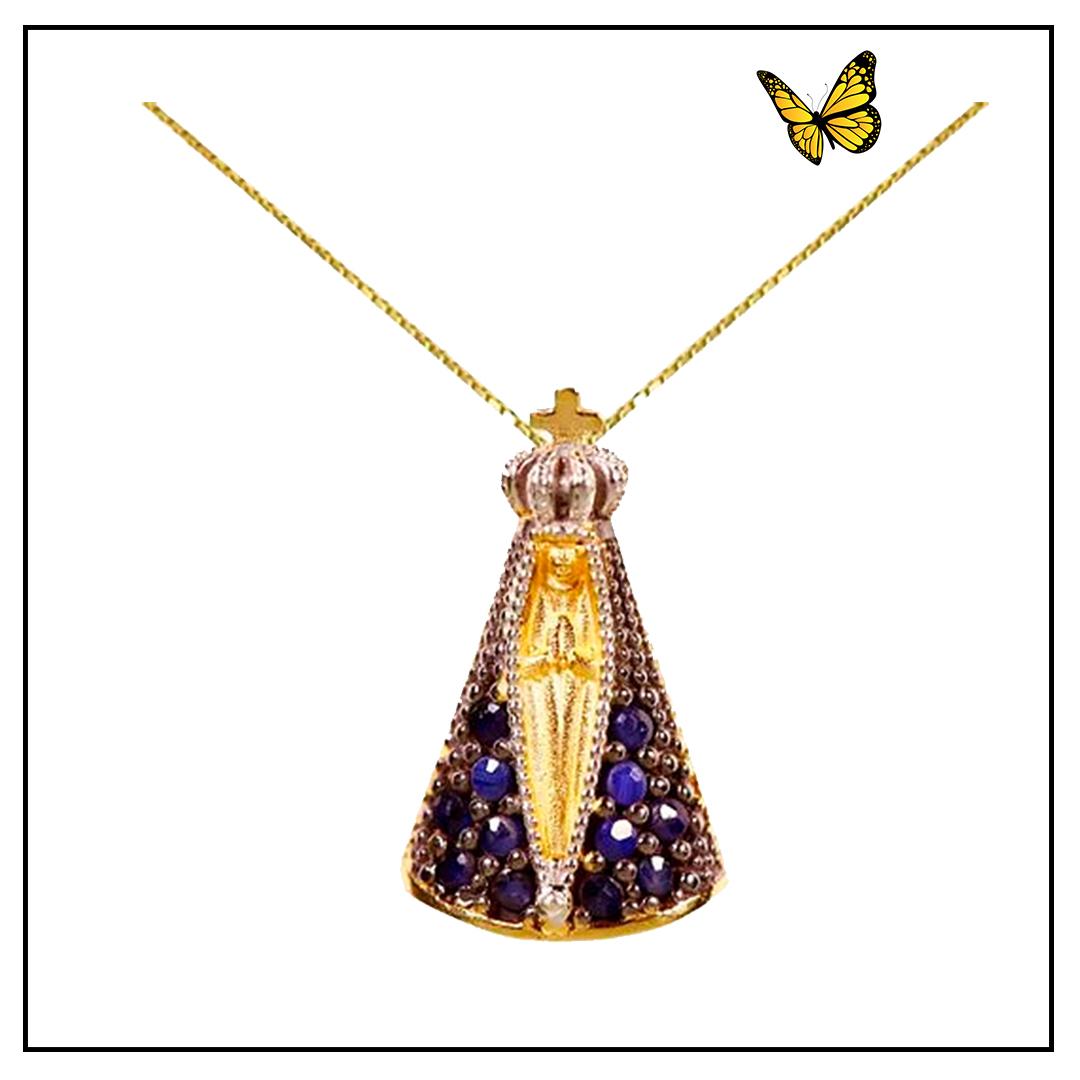 Pingente de Nossa Senhora Aparecida em Ouro Amarelo e Safira