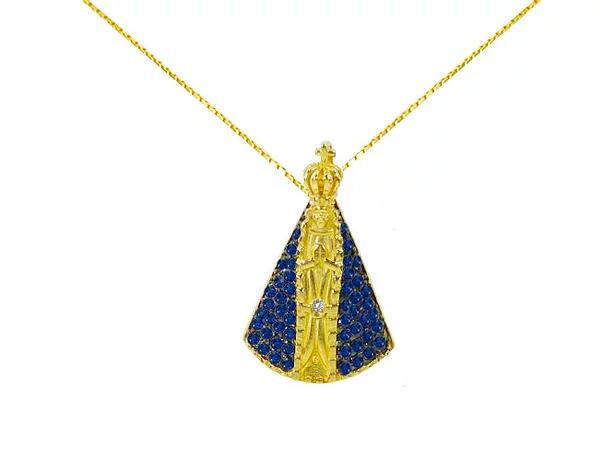 Pingente Ouro Amarelo, Safira e brilhante - Nossa Senhora Aparecida