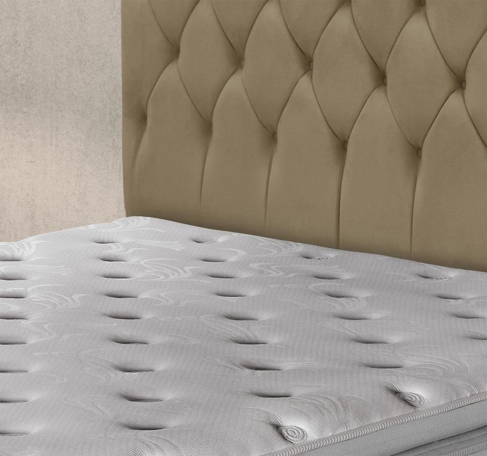 Cabeceira Luxury Plus Casal 1,40 Suede Bege II - Simbal