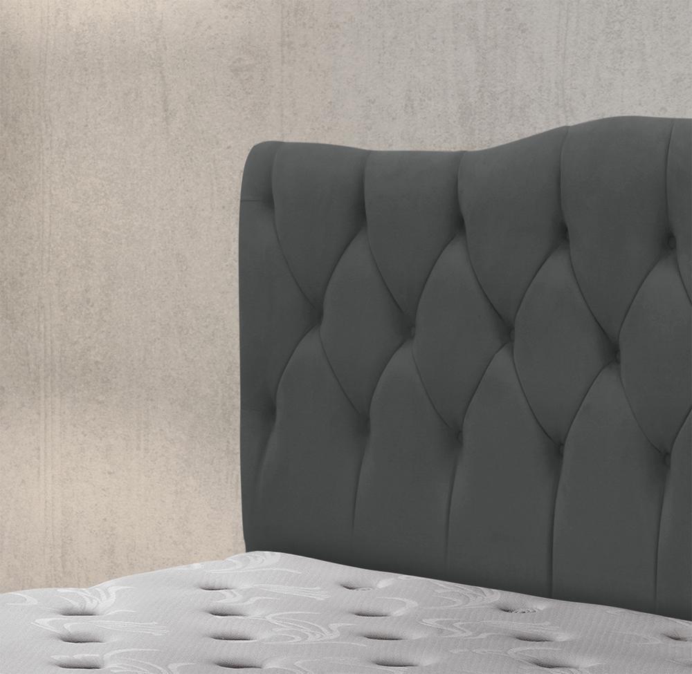 Cabeceira Luxury Plus Casal 1,40 Suede Cinza Escuro - Simbal