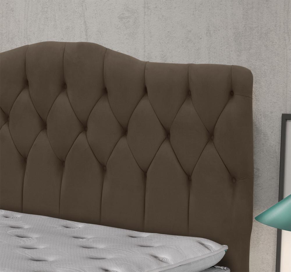 Cabeceira Luxury Plus Casal 1,40 Suede Marrom Chocolate - Simbal