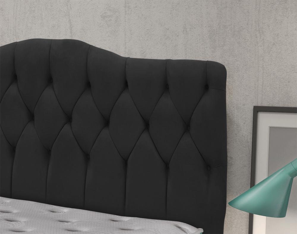 Cabeceira Luxury Plus Casal 1,40 Suede Negro - Simbal