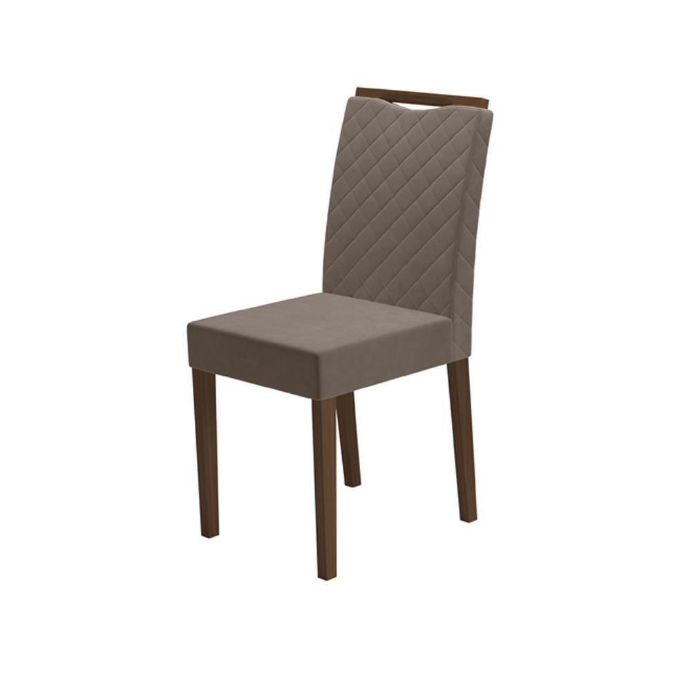 Cadeira Munique Amêndoa/Marron Claro com Brilho Kit com 2 unidades - New Ceval