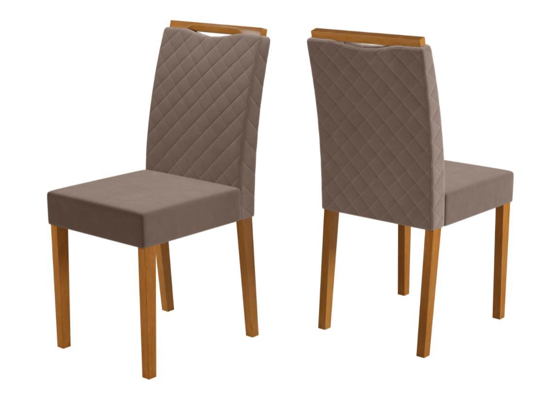 Cadeira Munique Ypê/Linho Marrom Claro Kit com 2 unidades - New Ceval