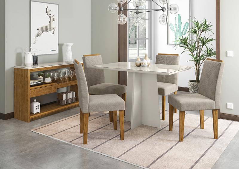 Conjunto de Mesa Ana 1,20m com 4 Cadeiras Amanda Off White/Ypê/Animalle Marrom Claro - FdECOR
