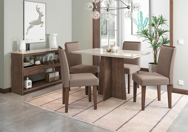 Conjunto de Mesa Ana 1,20m com 4 Cadeiras Ana Castanho/Off White/Veludo Marrom Rose - FdECOR