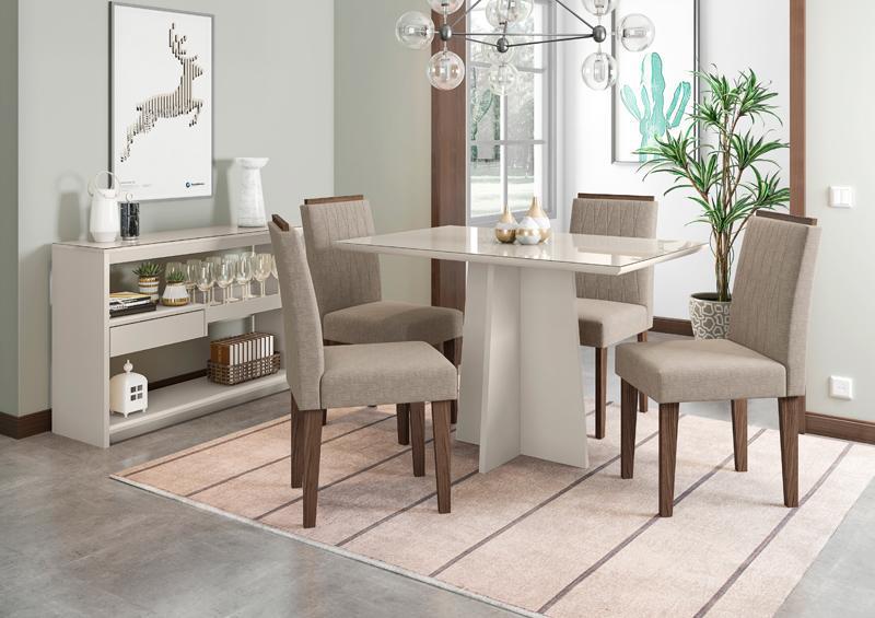 Conjunto de Mesa Ana 1,20m com 4 Cadeiras Ana Off White/Castanho/Veludo Linho Marrom Claro - FdECOR