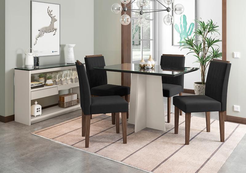 Conjunto de Mesa Ana 1,20m com 4 Cadeiras Ana Off White/Nero/Castanho/Veludo Preto - FdECOR