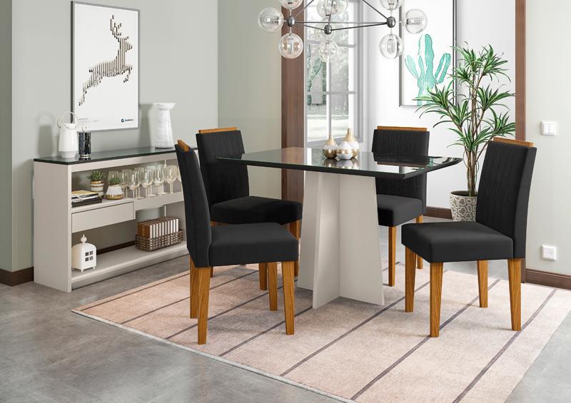 Conjunto de Mesa Ana 1,20m com 4 Cadeiras Ana Off White/Nero/Ypê/Veludo Preto - FdECOR