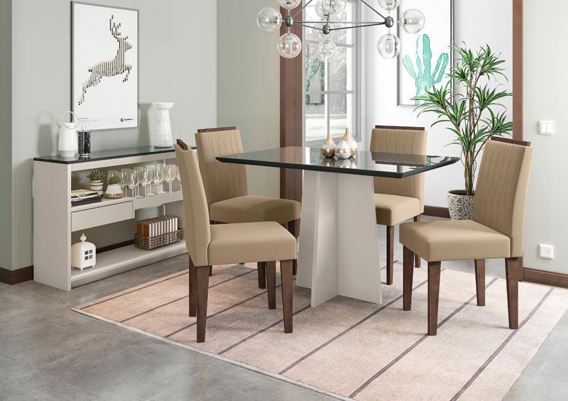 Conjunto de Mesa Ana 1,20m com 4 Cadeiras Ana Off White/Preto/Alamo/Veludo Marrom Claro - FdECOR