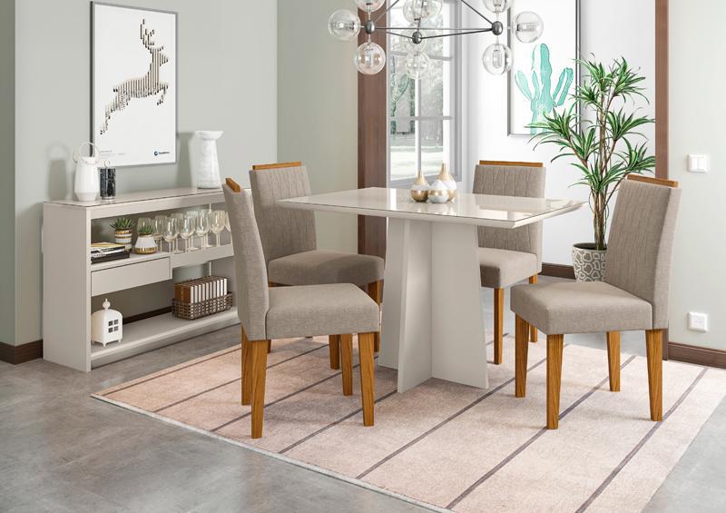 Conjunto de Mesa Ana 1,20m com 4 Cadeiras Ana Off White/Ypê/Veludo Linho Marrom Claro - FdECOR