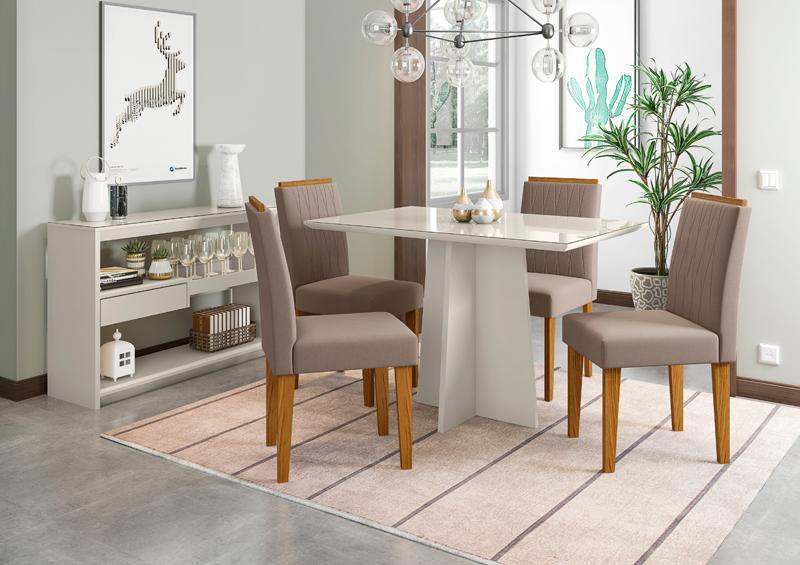 Conjunto de Mesa Ana 1,20m com 4 Cadeiras Ana Off White/Ypê/Veludo Marrom Rose - FdECOR