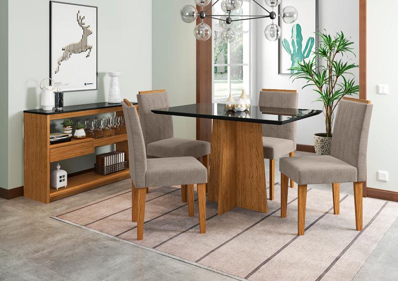 Conjunto de Mesa Ana 1,20m com 4 Cadeiras Ana Ypê/Nero/Animalle Marrom Claro - FdECOR