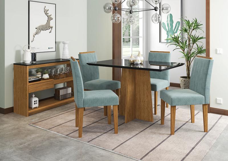Conjunto de Mesa Ana 1,20m com 4 Cadeiras Ana Ypê/Nero/Pena Azul Claro - FdECOR