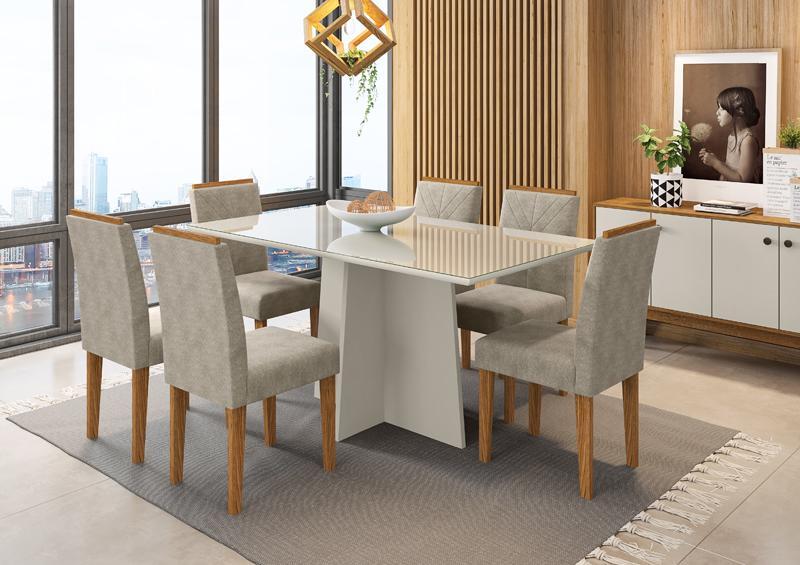 Conjunto de Mesa Ana 1,60m com 6 Cadeiras Amanda Off White/Ypê/Animalle Marrom Claro - FdECOR