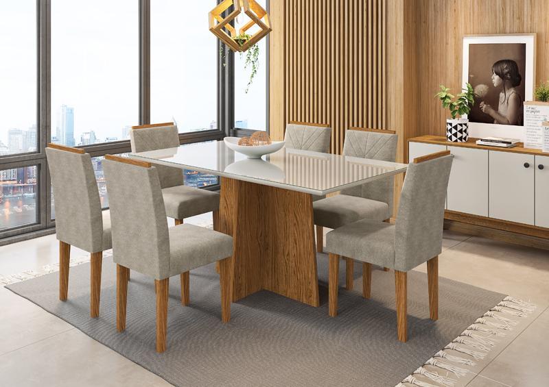 Conjunto de Mesa Ana 1,60m com 6 Cadeiras Amanda Ypê/Off White/Animalle Marrom Claro - FdECOR