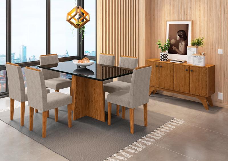 Conjunto de Mesa Ana 1,60m com 6 Cadeiras Ana Ypê/Nero/Animalle Marrom Claro - FdECOR