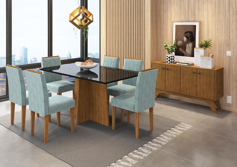Conjunto de Mesa Ana 1,60m com 6 Cadeiras Ana Ypê/Nero/Pena Azul Claro - FdECOR