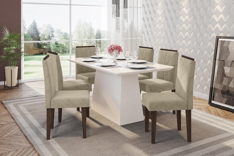 Conjunto de Mesa Bárbara 1,60m com 6 Cadeiras Amanda  Off White/Castanho/Animalle Bege - FdECOR