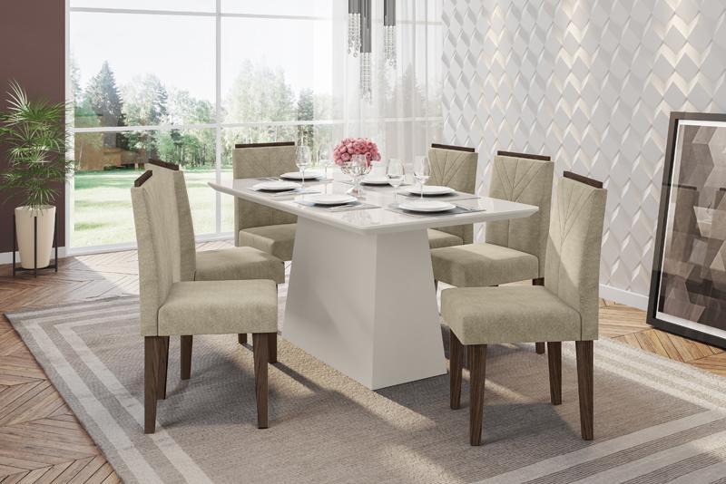 Conjunto de Mesa Bárbara 1,60m com 6 Cadeiras Amanda  Off White/Castanho/Animalle Marrom Claro - FdECOR
