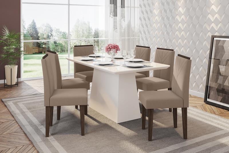 Conjunto de Mesa Bárbara 1,60m com 6 Cadeiras Amanda  Off White/Castanho/Veludo Marrom Rose - FdECOR