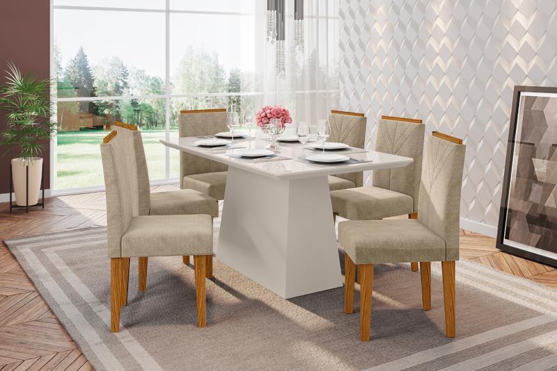 Conjunto de Mesa Bárbara 1,60m com 6 Cadeiras Amanda  Off White/Ypê/Animalle Marrom Claro - FdECOR