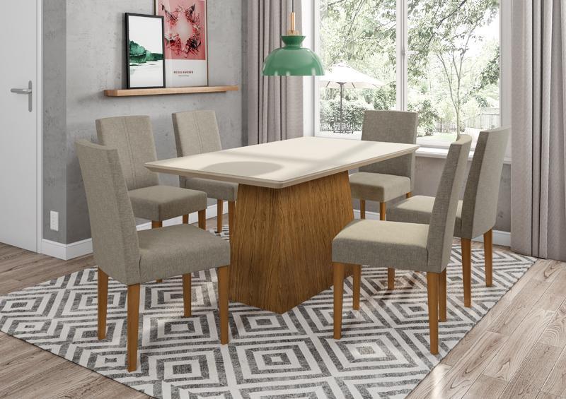 Conjunto de Mesa Bárbara 1,60m com 6 Cadeiras Heloise  Ypê/Off White/Veludo Linho Marrom Claro - FdECOR