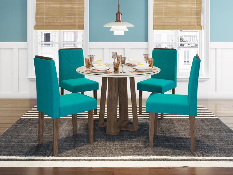Conjunto de Mesa Isabela 1,00m com 4 Cadeiras Amanda  Castanho/Off White/Veludo Azul Turquesa - FdECOR