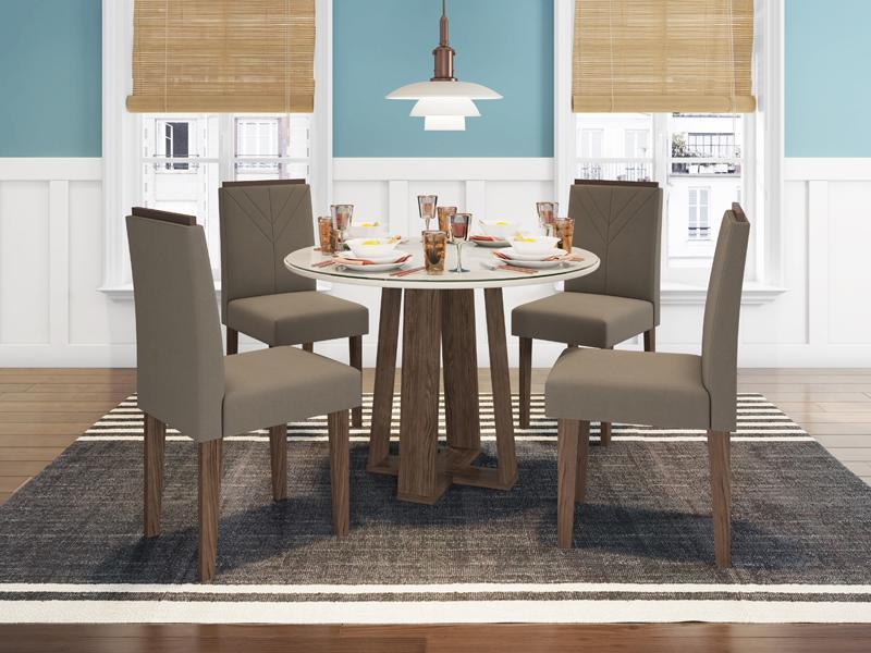 Conjunto de Mesa Isabela 1,00m com 4 Cadeiras Amanda Castanho/Off White/Veludo Marrom Escuro - FdECOR