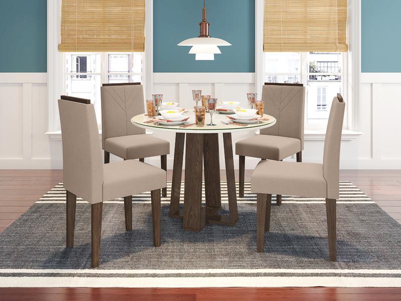 Conjunto de Mesa Isabela 1,00m com 4 Cadeiras Amanda  Castanho/Off White/Veludo Marrom Rose - FdECOR