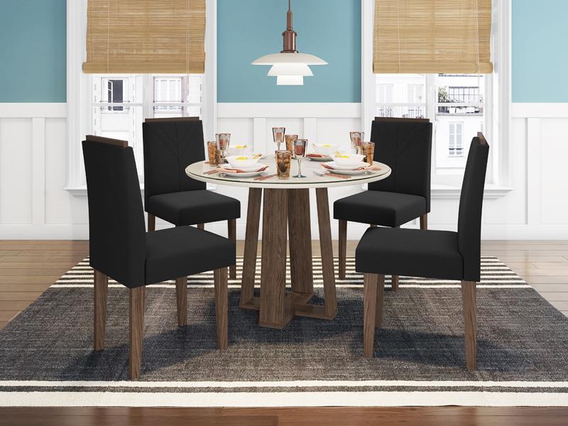 Conjunto de Mesa Isabela 1,00m com 4 Cadeiras Amanda Castanho/Off White/Veludo Preto - FdECOR