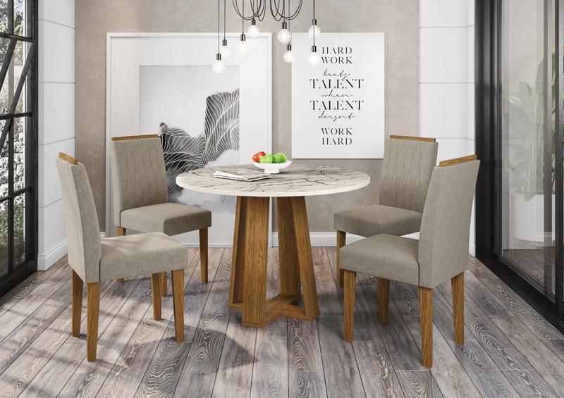 Conjunto de Mesa Isabela 1,00m com 4 Cadeiras Ana  Ypê/Carrara/Veludo Linho Marrom Claro - FdECOR