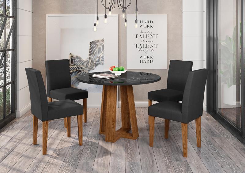 Conjunto de Mesa Isabela 1,00m com 4 Cadeiras Giovana Ypê/Nero/Veludo Preto - FdECOR