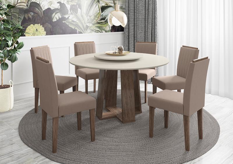 Conjunto de Mesa Isabela 1,35m com 6 Cadeiras Ana Castanho/Off White/Veludo Marrom Rose - FdECOR