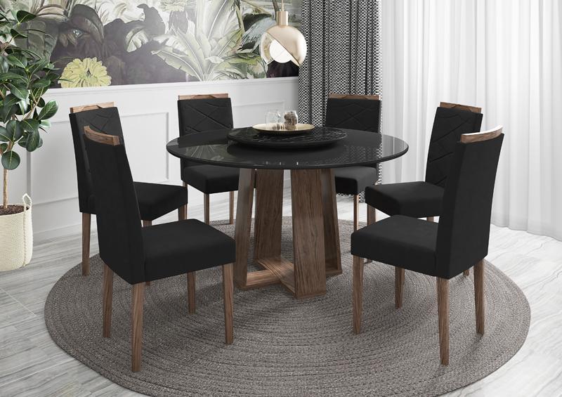 Conjunto de Mesa Isabela 1,35m com 6 Cadeiras Caroline Carrara Castanho/Preto/Nero/Veludo Preto - FdECOR