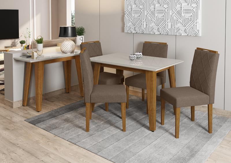 Conjunto de Mesa Jade 1,20m com 4 Cadeiras Isabela Ypê/Off White/Veludo Linho Marrom Claro - FdECOR