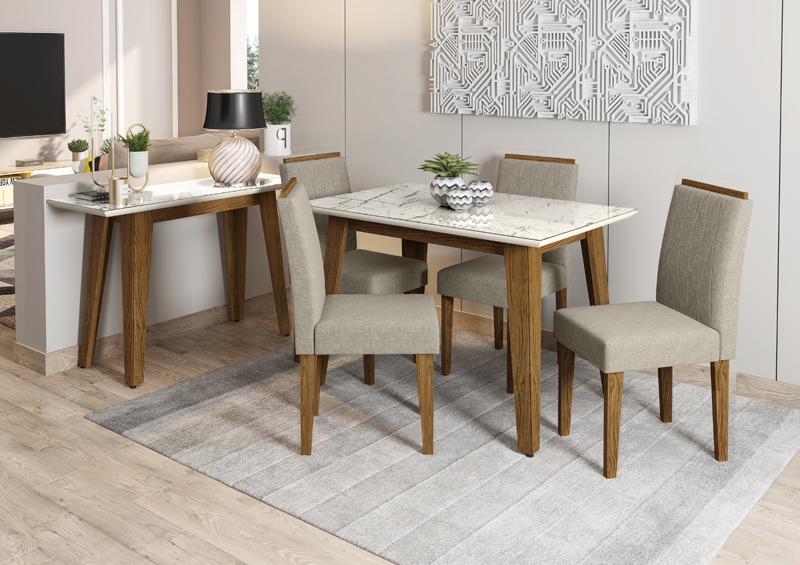Conjunto de Mesa Jade 1,20m Ype com 4 Cadeiras Isabela  Ypê/Carrara/Veludo Linho Marrom Claro - FdECOR